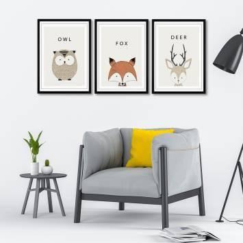 Animal Seri 3 Parça Çerçeveli Poster