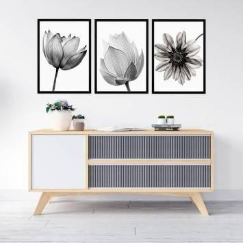 Floral Siyah Beyaz Çerçeveli Set