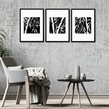 Bambu Siyah Beyaz Çerçeveli Set