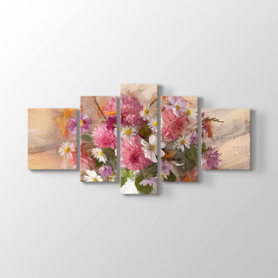 Çiçekler 5 Parçalı Tablo (Kampanyalı)