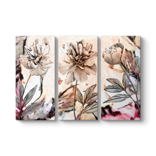 Kahverengi Dekoratif Çiçekler 3 Parçalı