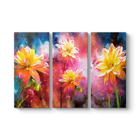 Yağlıboya Çiçekler 3 Parçalı Kanvas Tablo