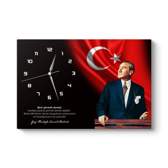 Atatürk Sözlü Kanvas Tablo Saat