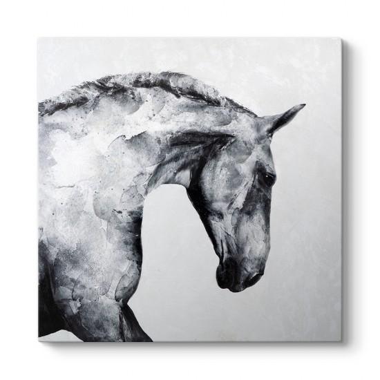 Sanatsal Siyah Beyaz At Tablosu