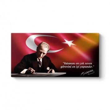 Atatürk Resimli Makam Ofis Kanvas Tablosu