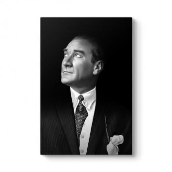 Siyah Beyaz Atatürk Portresi Kanvas Tablo