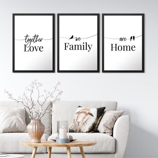 Love Family Home 3 Parça Çerçeveli Set