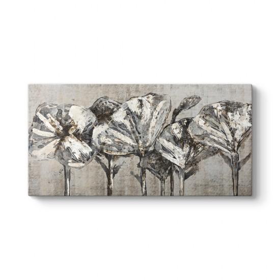 Eskitme Beyaz Çiçekler Tablo