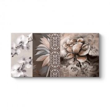 Kahverengi Çiçek Kolajı Tablosu