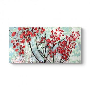 Kırmızı Yapraklı Ağaç Dalları Kanvas Tablo