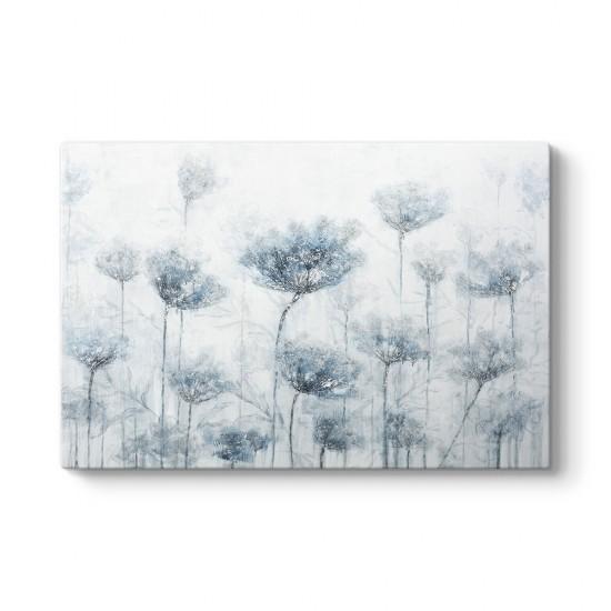 Mavi Soft Çiçekler Tablosu