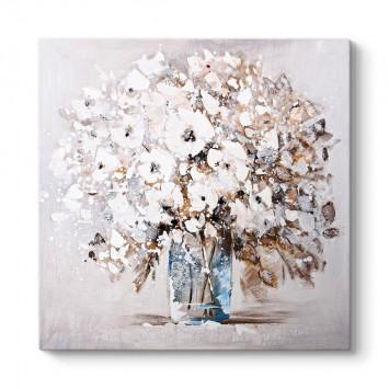 Vazoda Beyaz Çiçekler Tablosu