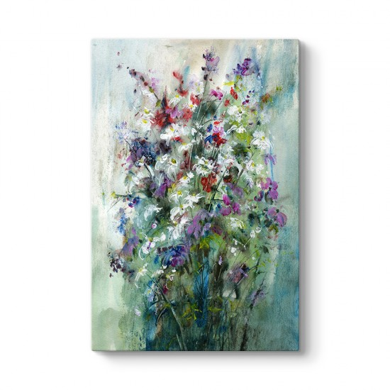 Yeşil Zeminli Çiçek Buketi Tablosu