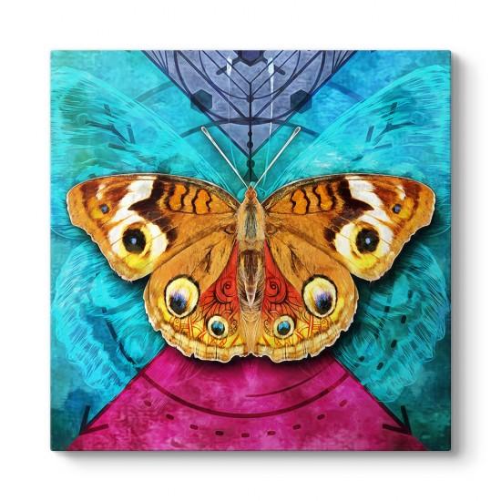 Gerçekçi Dekoratif Kelebek Kanvas Tablo