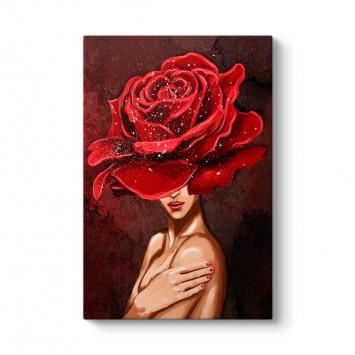 Kadın ve Kırmızı Gül Tablosu