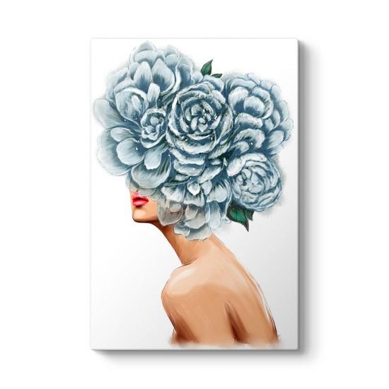Kadın ve Mavi Çiçekler Tablosu
