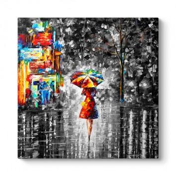 Yağmurda Şemsiye Tutan Kadın Tablosu