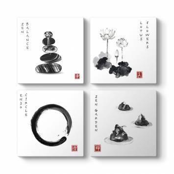 Zen Dengesi 4 Parçalı Tablo