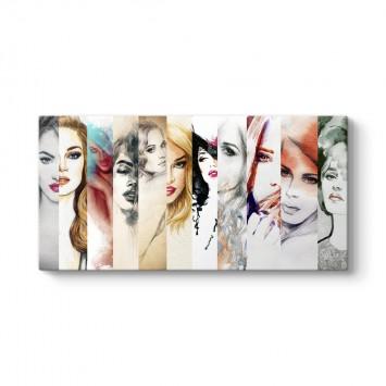 Suluboya Tarzı Kadın Yüzleri Tablosu