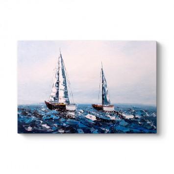 Denizde İki Yelkenli Tablosu