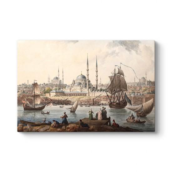 Jean-Baptiste Hilair - Yeni Camii ve İstanbul Limanı Tablosu