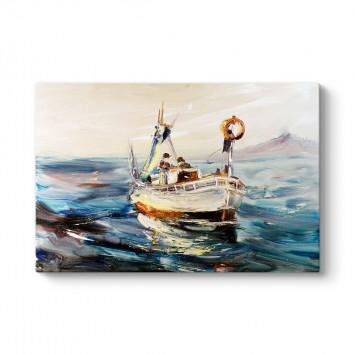 Sanatsal Balıkçı Teknesi Kanvas Tablosu