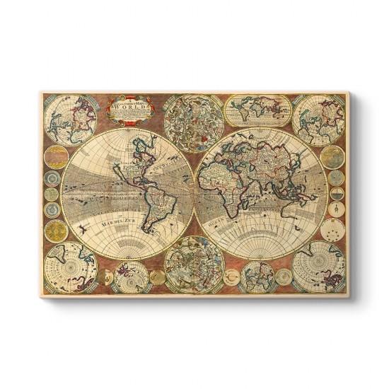 Astrolojik Eski Dünya Haritası Tablosu