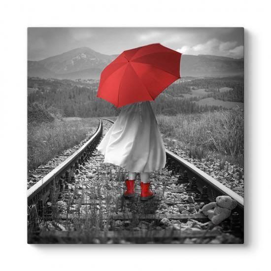 Raylarda Kırmızı Şemsiyeli Kız Tablosu