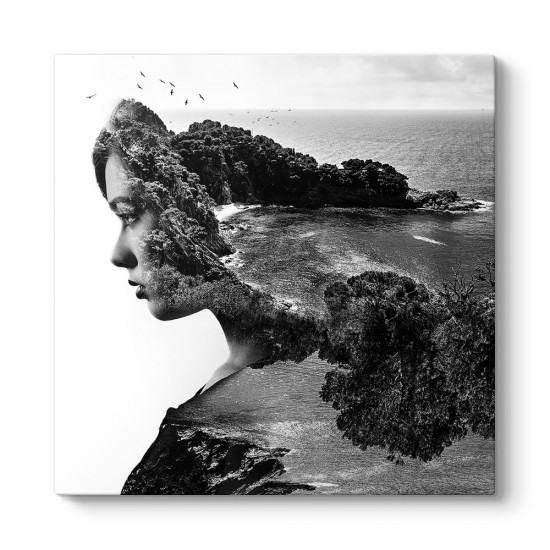 Silüet ve Deniz Manzarası Kanvas Tablo