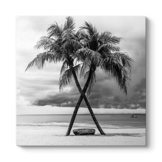 Siyah Beyaz Plaj Manzarası Tablosu