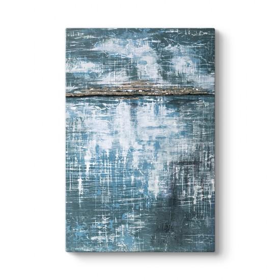Bakır Mavi Soyut Kanvas Tablo