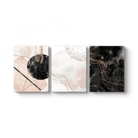 Siyah ve Gold 3 Parçalı Tablo