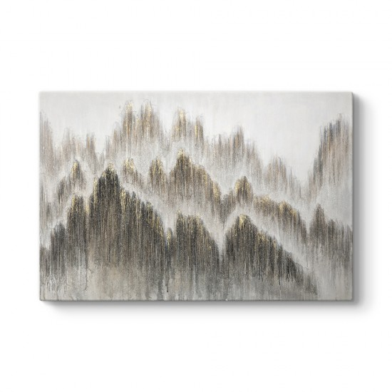 Soyut Altın Dağlar Tablosu