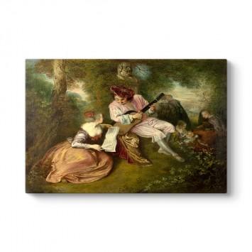 Antoine Watteau - Aşkın Ölçeği Tablosu