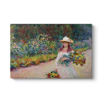 Claude Monet - Jeune Fille Dans Le Jardin De Giverny Tablosu
