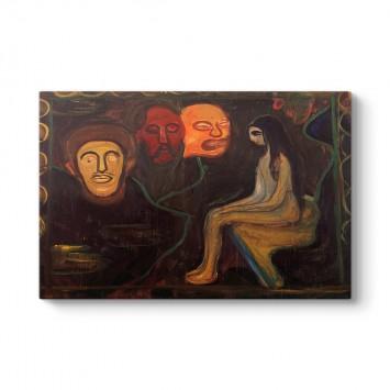 Edvard Munch - Girl and Three Male Heads Tablosu