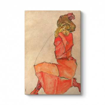 Egon Schiele - Kneeling Female in Orange-Red Dress Tablosu