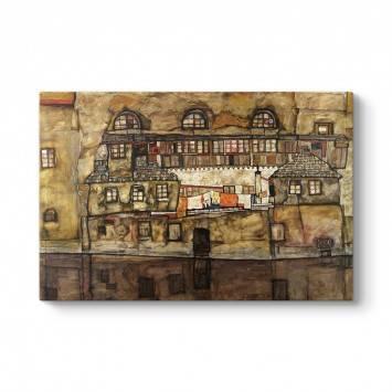 Egon Schiele - Nehirdeki Ev Duvarı Tablosu