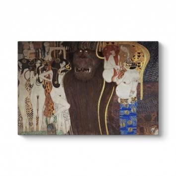 Gustav Klimt - Beethoven Frizi Düşman Güçler Tablosu