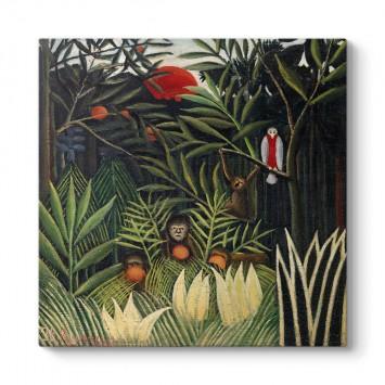 Henri Rousseau - Bakire Ormanda Maymunlar Ve Papağan Tablosu