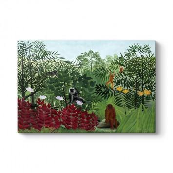 Henri Rousseau - Tropikal Ormanda Maymunlar Tablosu