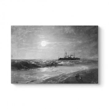 İvan Ayvazovski - Ayışığı ile Gemi Tablosu