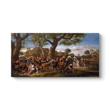 Jan Steen - Peasants Merrymaking Outside an Inn Tablosu