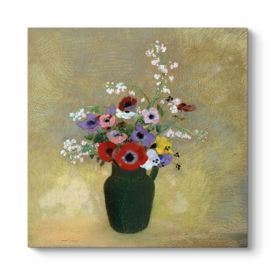Odilon Redon - Büyük Yeşil Vazo ile Karışık Çiçekler Tablosu