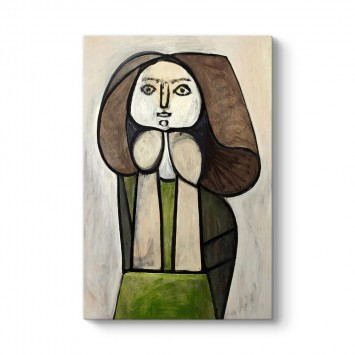 Pablo Picasso - Femme A La Robe Verte Femme Fleur Tablosu
