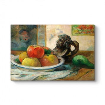 Paul Gauguin - Still Life with Apples, a Pear, and a Ceramic Portrait Jug Tablosu