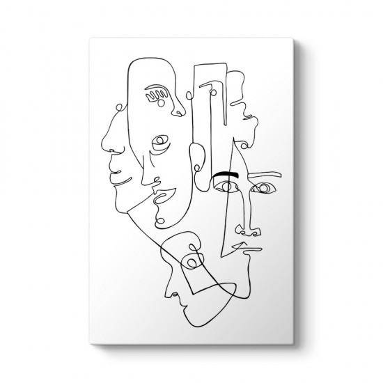 Erkek Yüzleri Kanvas Tablo