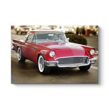 Kırmızı Amerikan Arabası Tablosu