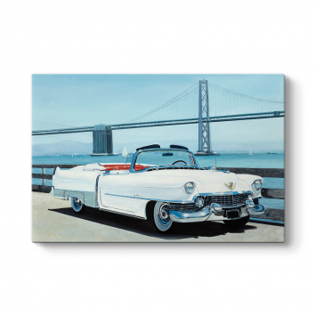 Klasik  Beyaz Cadillac Tablosu