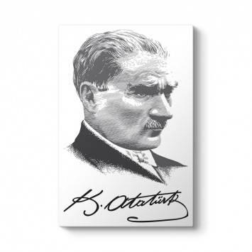 Atatürk İmza Siyah Beyaz Tablosu